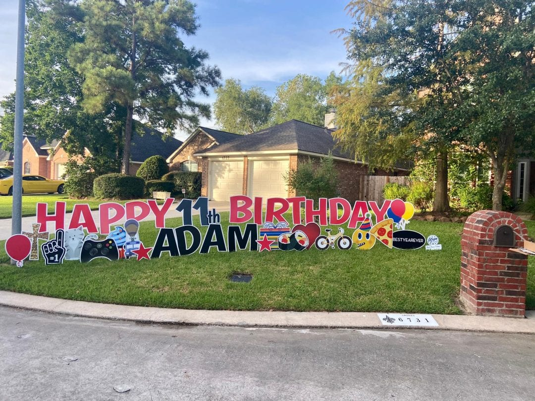 Happy 11th Birthday Yard Greeting Spring_The-Woodlands_Tomball