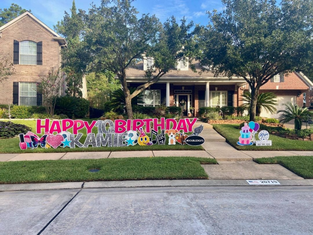 Happy Birthday Yard Greeting Spring_The-Woodlands_Tomball