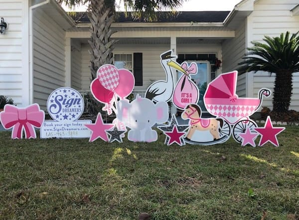ITS-A-GIRL---PINK---STARS-BOWS-CRADLE-HORSIE-BALLOONS-STORK