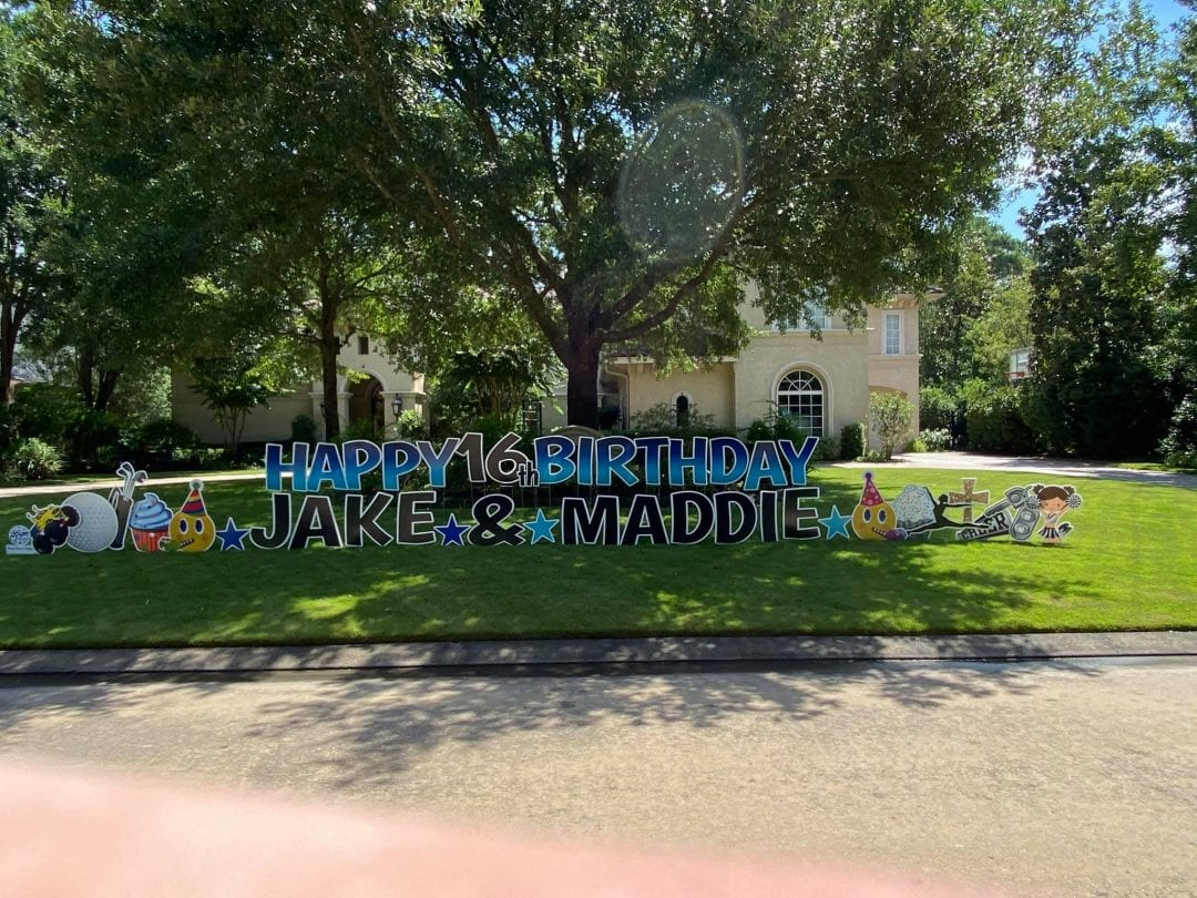Twins Birthday Yard Card Spring_The-Woodlands_Tomball