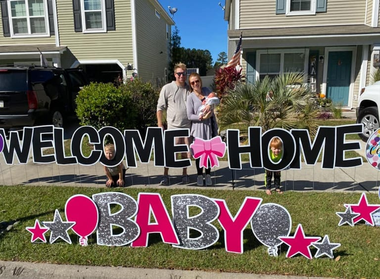 WELCOME-HOME-BABY---BLACK-PINK-SILVER-GLITTER---BOWS-STARS-CELEBRATE