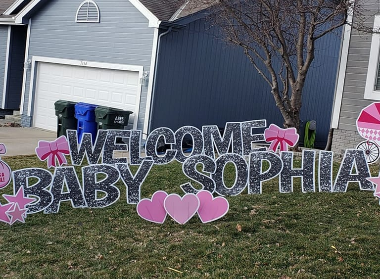 WELCOME-HOME-BABY-SOPHIA---SILVER-GLITTER---PINK-HEARTS-STARS-ELEPHANT-STORK-BALLOONS